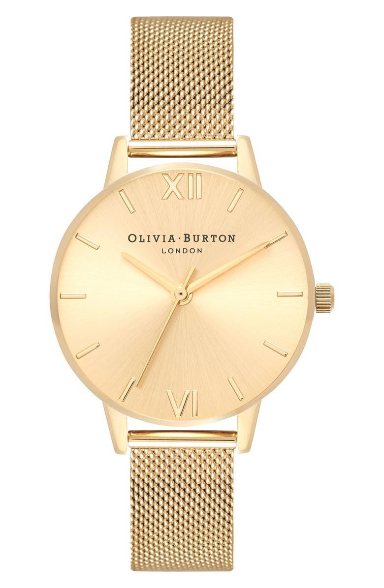 OLIVIA BURTON Sunray Mesh Strap Watch, 30mm, Main, color, GOLD