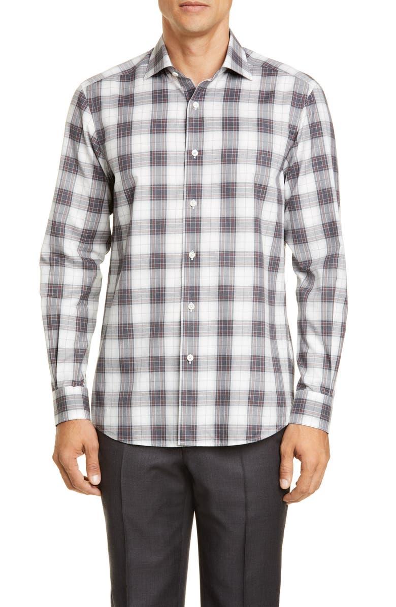 ERMENEGILDO ZEGNA Classic Fit Plaid Button-Up Shirt, Main, color, 056