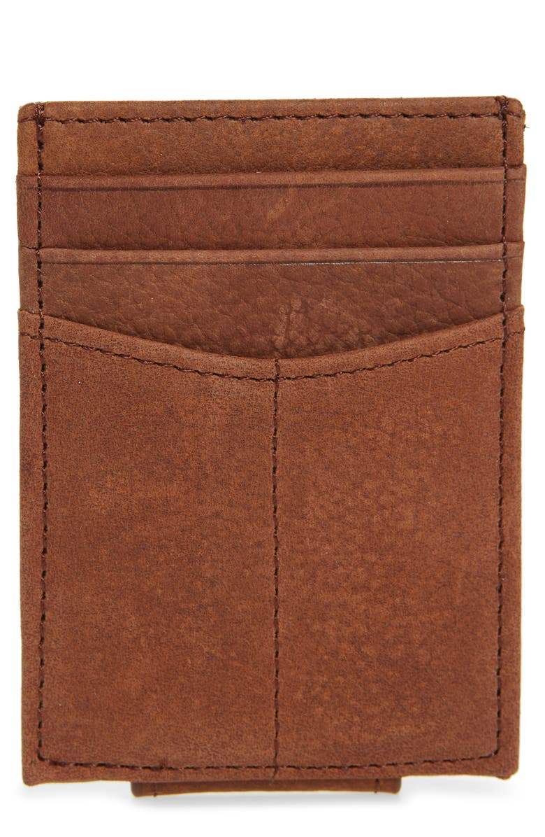 JOHNSTON & MURPHY Leather Front Packet Wallet, Main, color, WHISKEY MILLED LEATHER