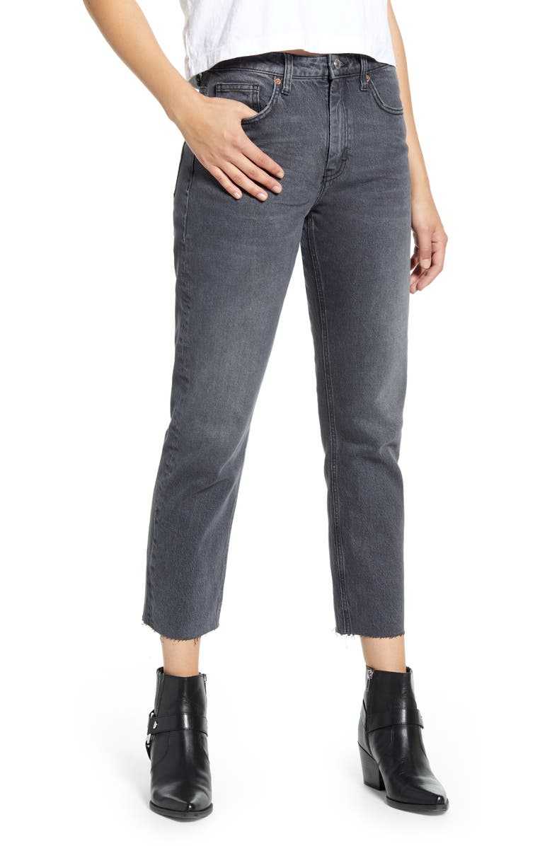 TOPSHOP High Waist Raw Hem Straight Jeans, Main, color, WASHED BLACK