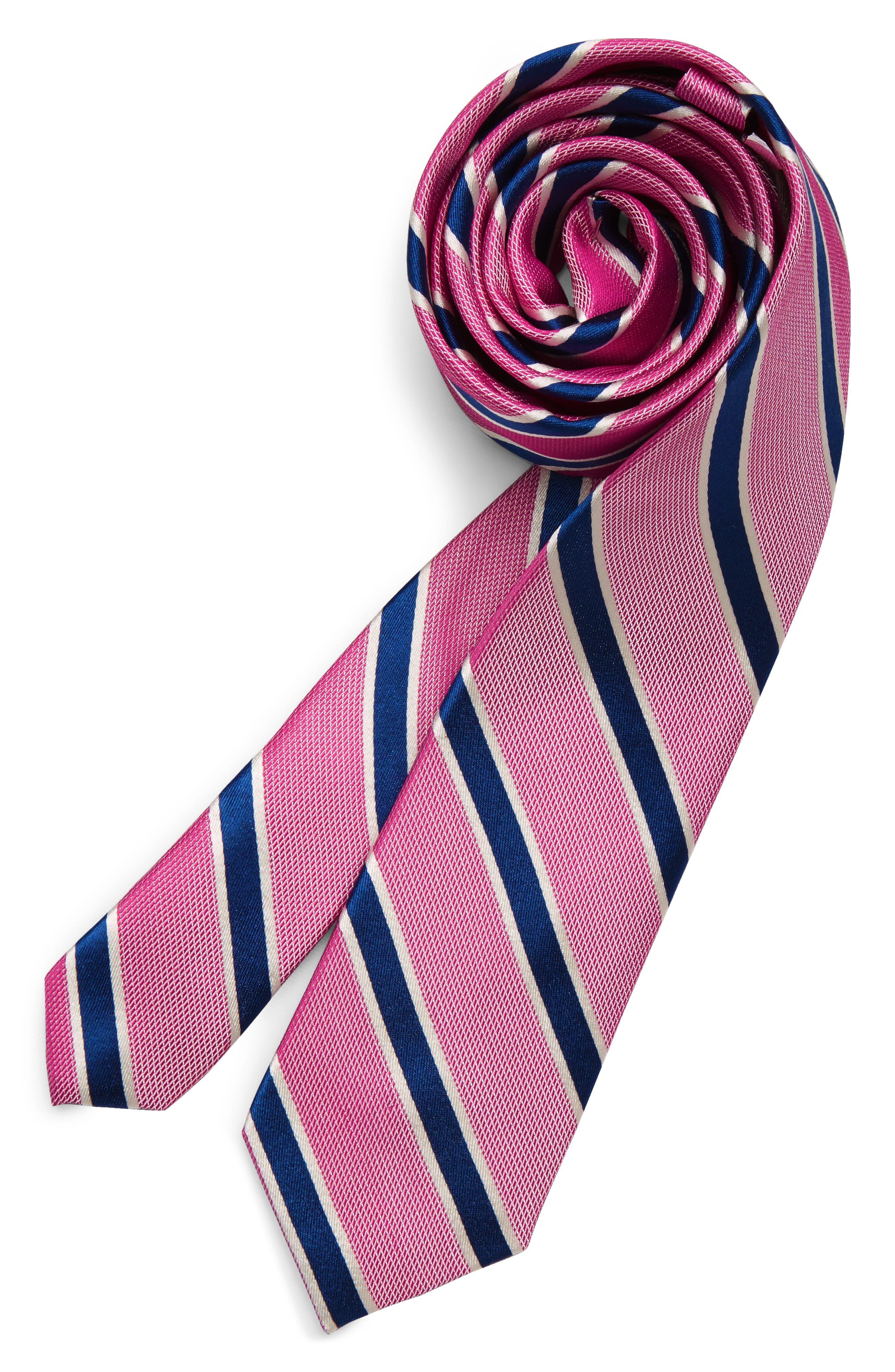 Stripe Silk Tie, Main, color, FUCHSIA