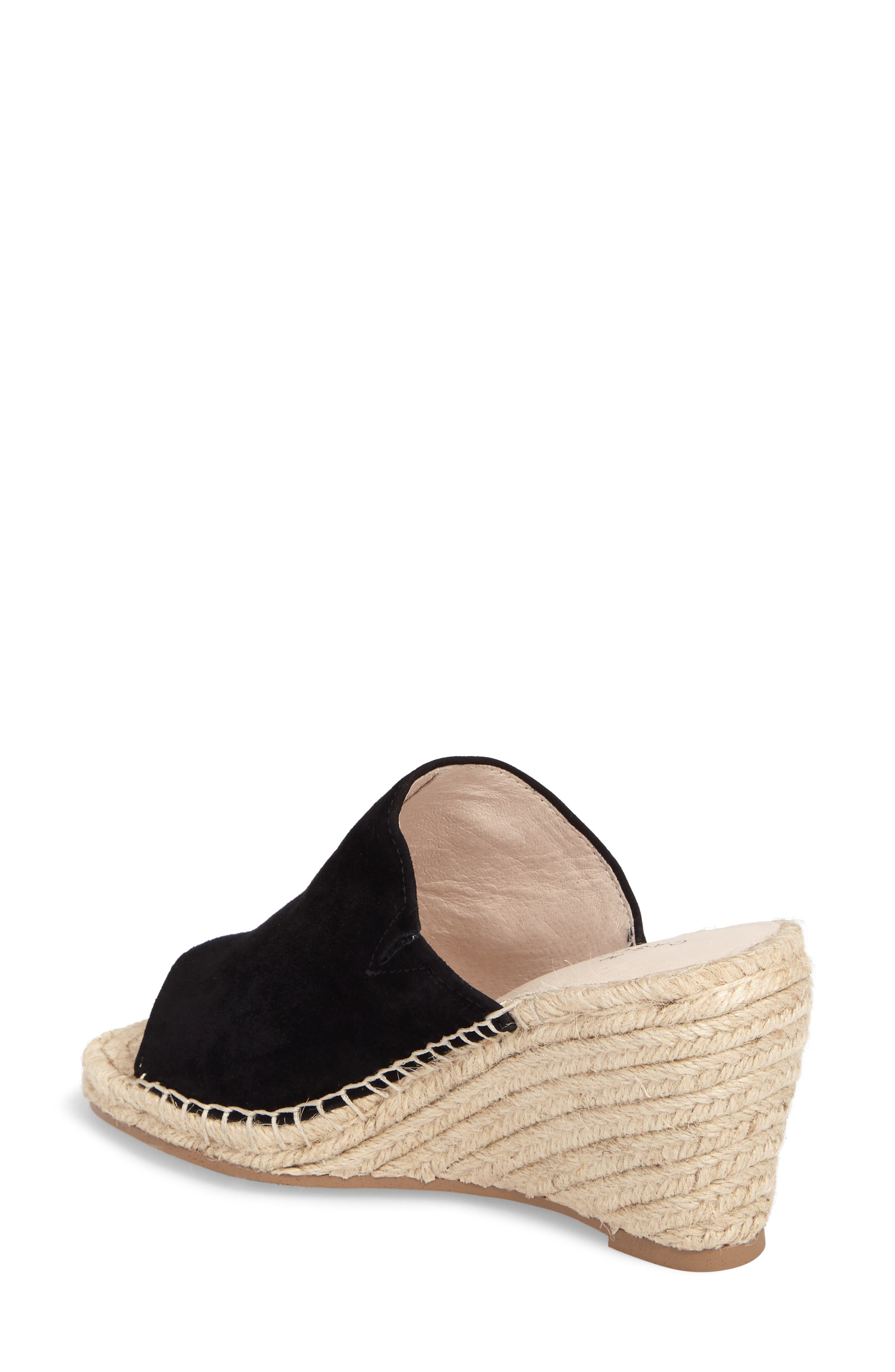 ,                             Sally Wedge Sandal,                             Alternate thumbnail 2, color,                             BLACK SUEDE