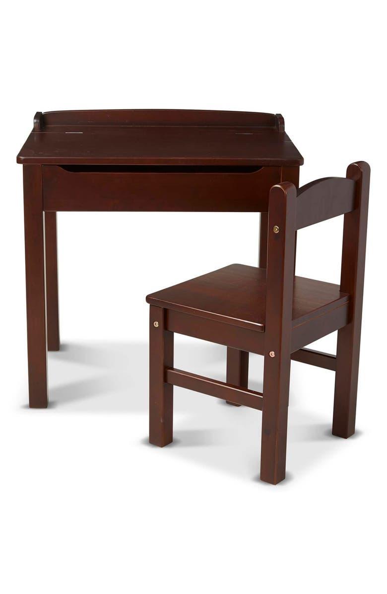 MELISSA & DOUG Wooden Lift Top Desk & Chair Set, Main, color, MULTI