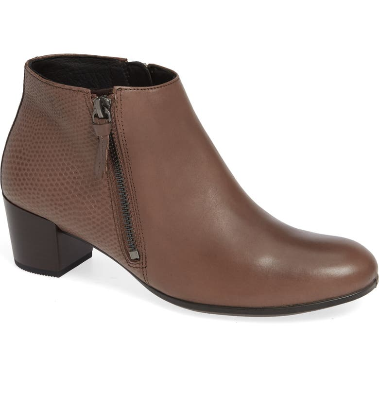 ECCO Shape 35 Ankle Bootie, Main, color, DEEP TAUPE LEATHER