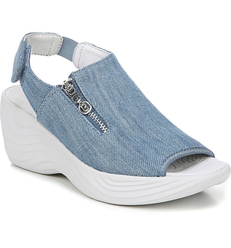 BZEES Zipline Wedge Sandal, Main, color, DENIM WASHED FABRIC