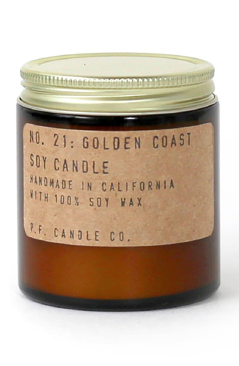 P.F. CANDLE CO. Mini Soy Candle, Main, color, GOLDEN COAST