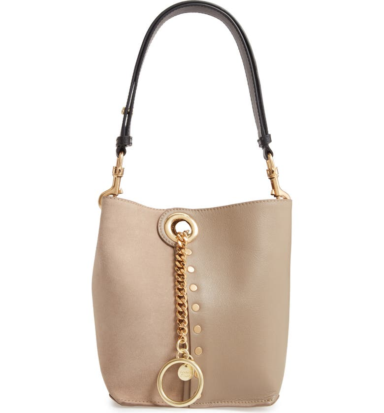 SEE BY CHLOÉ Leather Shoulder Bag, Main, color, MOTTY GREY