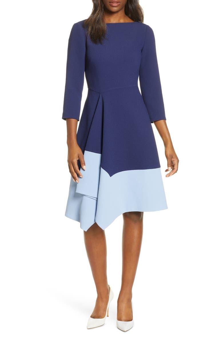 HARPER ROSE Colorblock Asymmetrical Hem Fit & Flare Crepe Dress, Main, color, 410