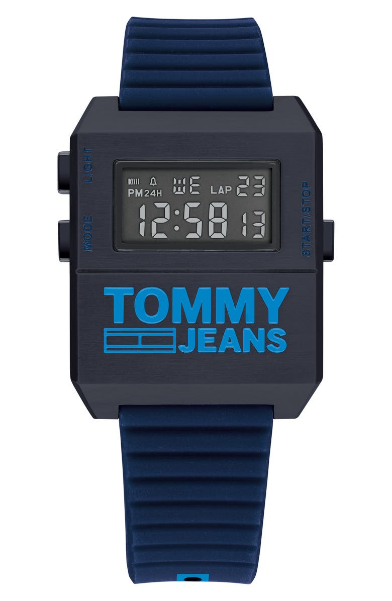 TOMMY JEANS Digital Rubber Strap Watch, 32.5mm x 42mm, Main, color, BLUE