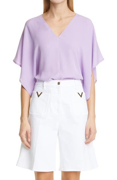 Valentino V-NECK SILK GEORGETTE BLOUSE