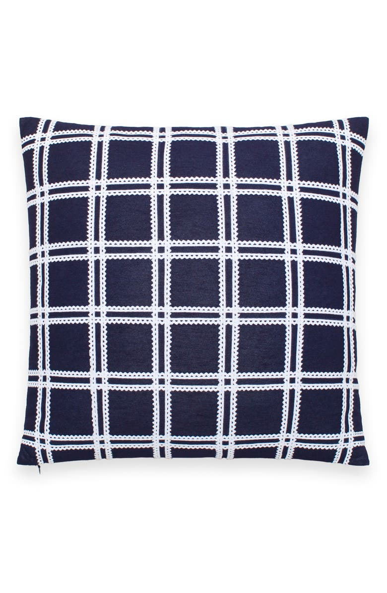 KATE SPADE NEW YORK rickrack grid accent pillow, Main, color, NAVY