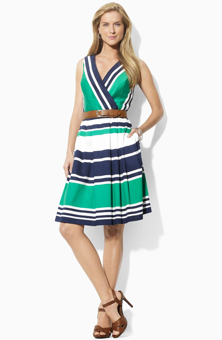 LAUREN RALPH LAUREN Belted Surplice Cotton Dress, Main, color, 450