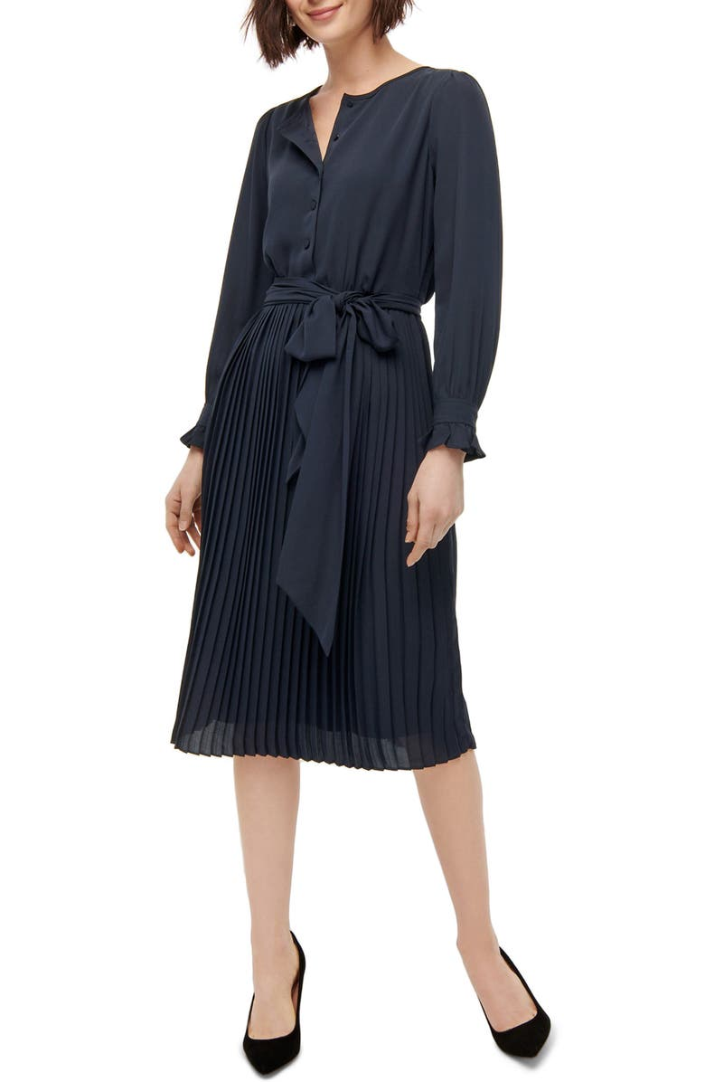 J.CREW Tie Front Pleated Long Sleeve Dress, Main, color, NAVY