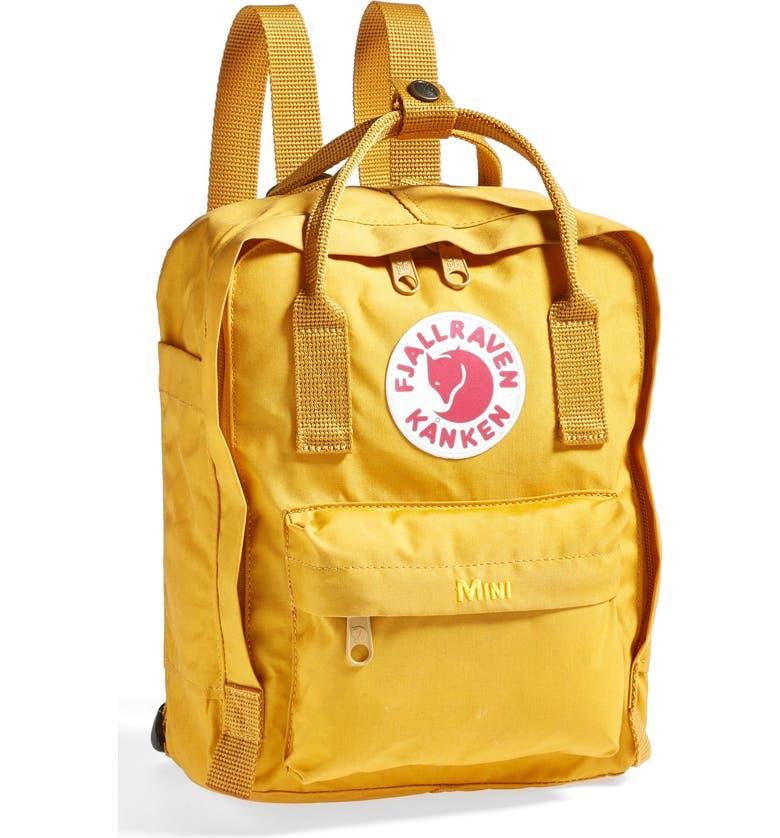 FJÄLLRÄVEN Mini Kånken Water Resistant Backpack, Main, color, OCHRE