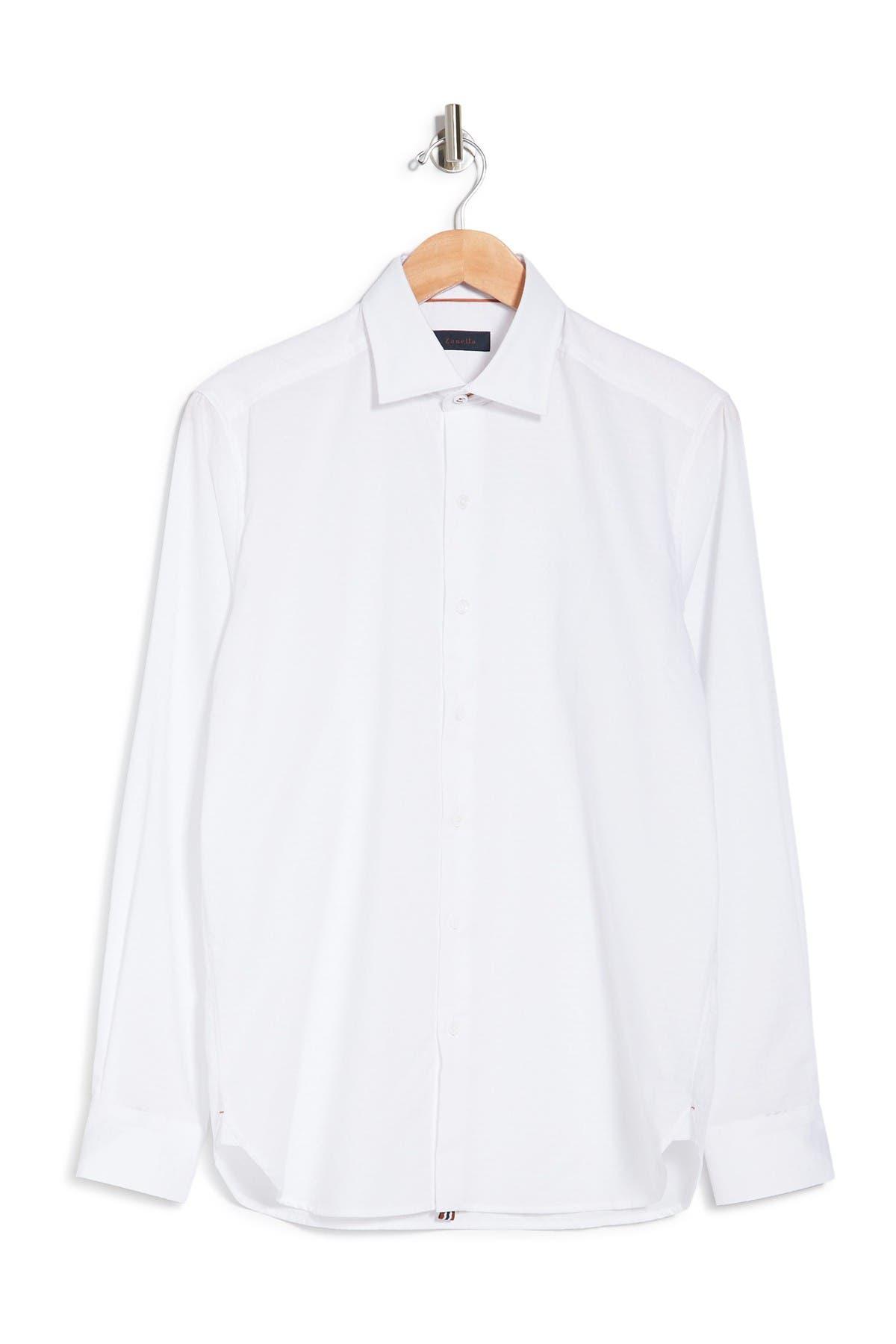 Image of Zanella Jacquard Print Long Sleeve Tailored Fit Shirt