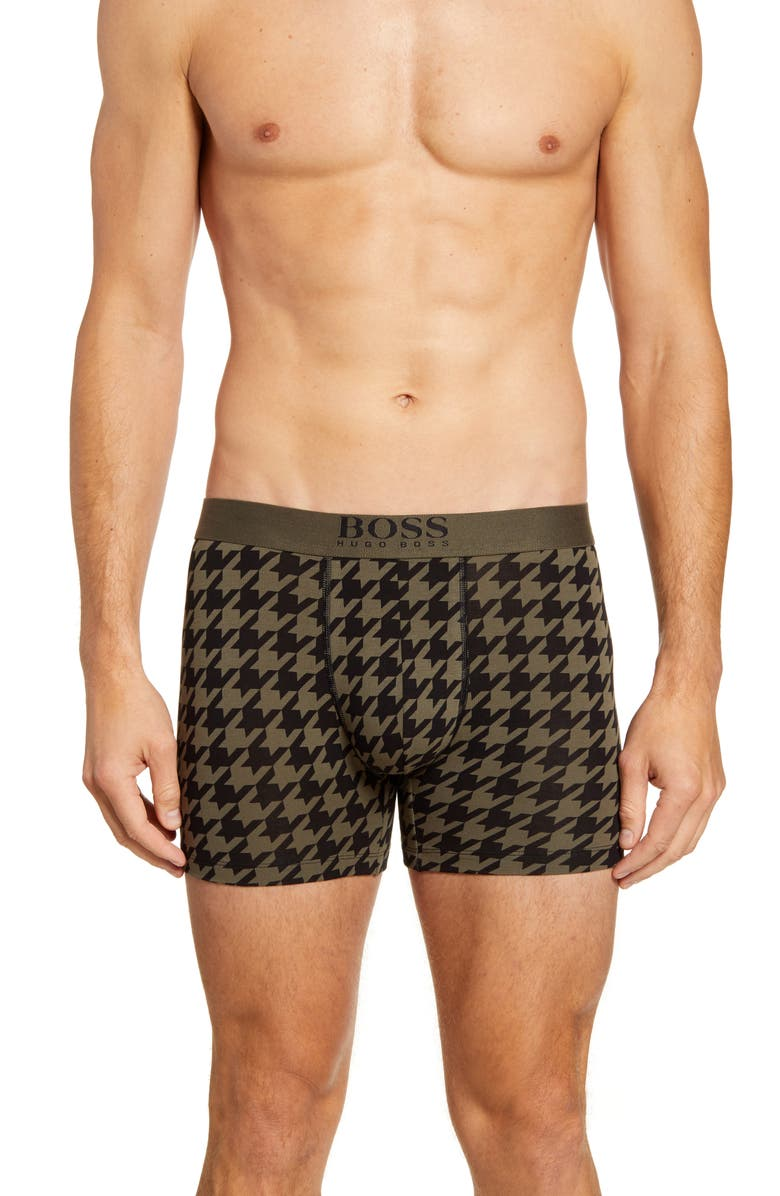 BOSS Houndstooth Stretch Cotton Boxer Briefs, Main, color, GREEN