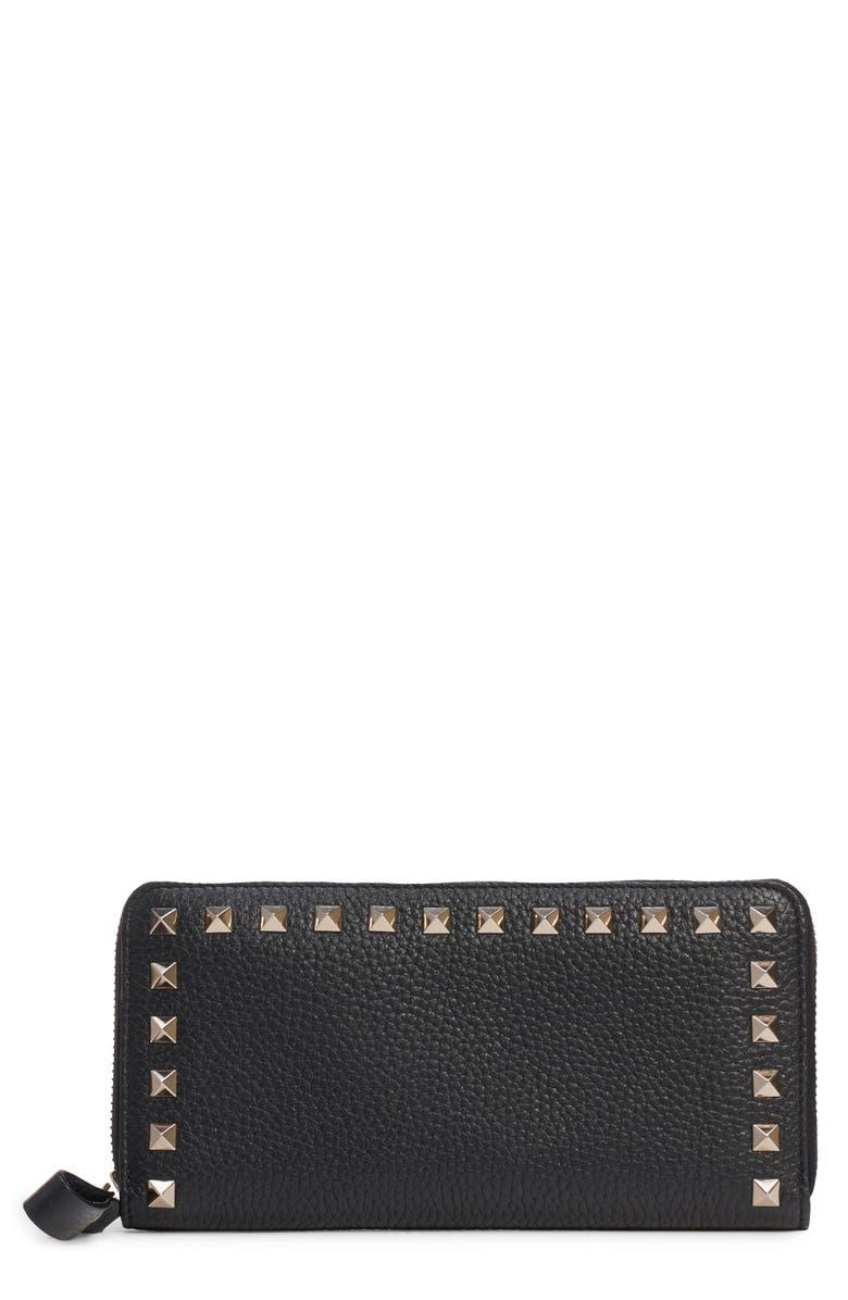 VALENTINO GARAVANI Rockstud Zip Around Leather Continental Wallet, Main, color, NERO/ GOLD