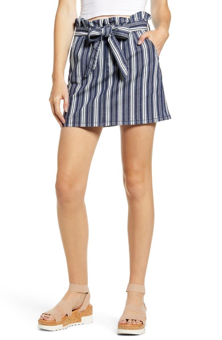 PROSPERITY DENIM Stripe Paperbag Waist Miniskirt, Main, color, WHITE BLUE