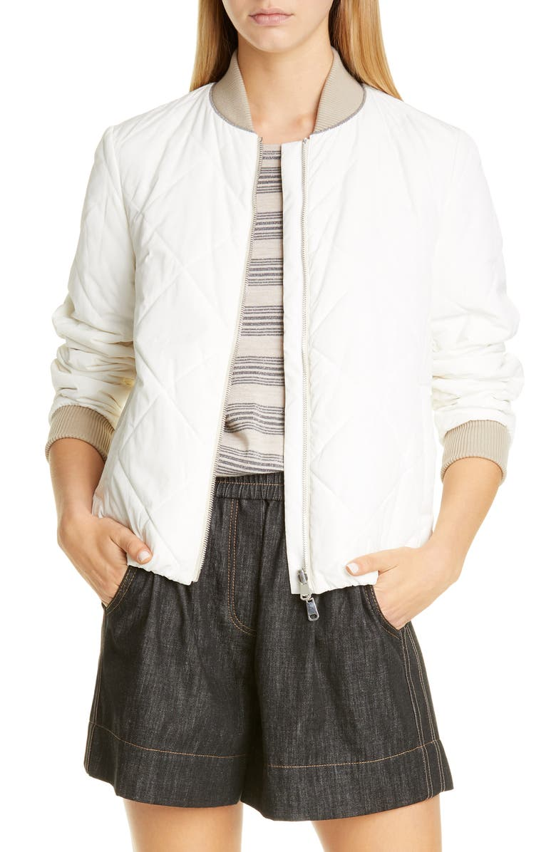 BRUNELLO CUCINELLI Reversible Quilted Bomber Jacket, Main, color, WHITE