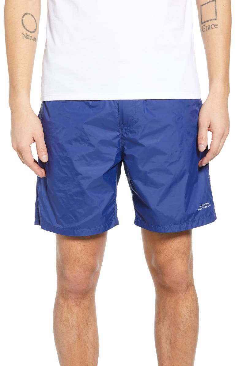 SATURDAYS NYC Trent Hybrid Athletic Shorts, Main, color, COBALT