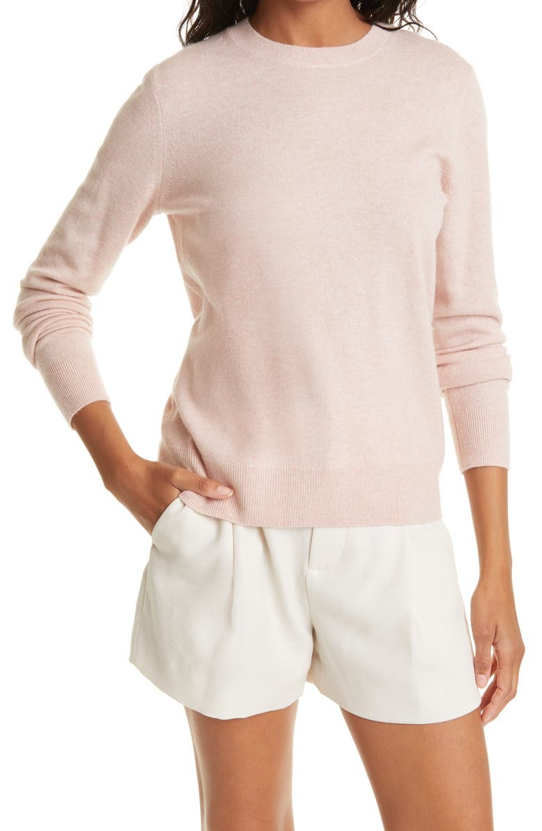 VINCE Easy Fit Crewneck Wool & Cashmere Sweater, Main, color, SHELL PINK