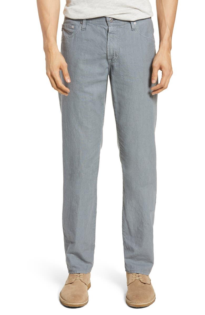 AG Graduate Slim Straight Leg Linen Blend Pants, Main, color, 024