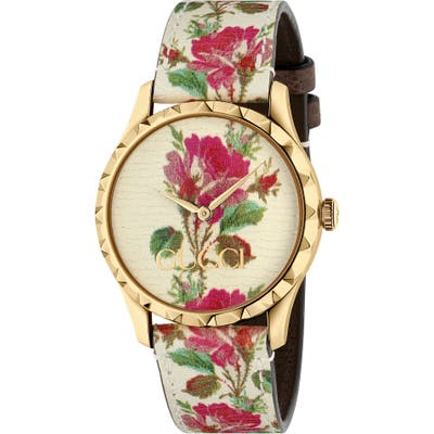 Gucci G-Timeless Print Leather Strap Watch,