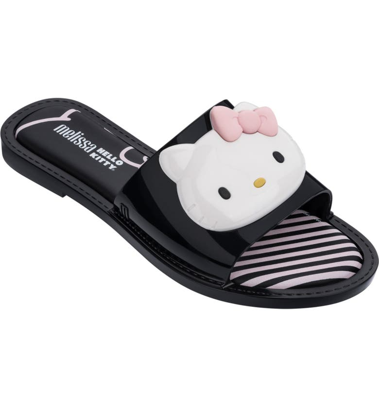MELISSA x Hello Kitty Slide Sandal, Main, color, BLACK/ WHITE