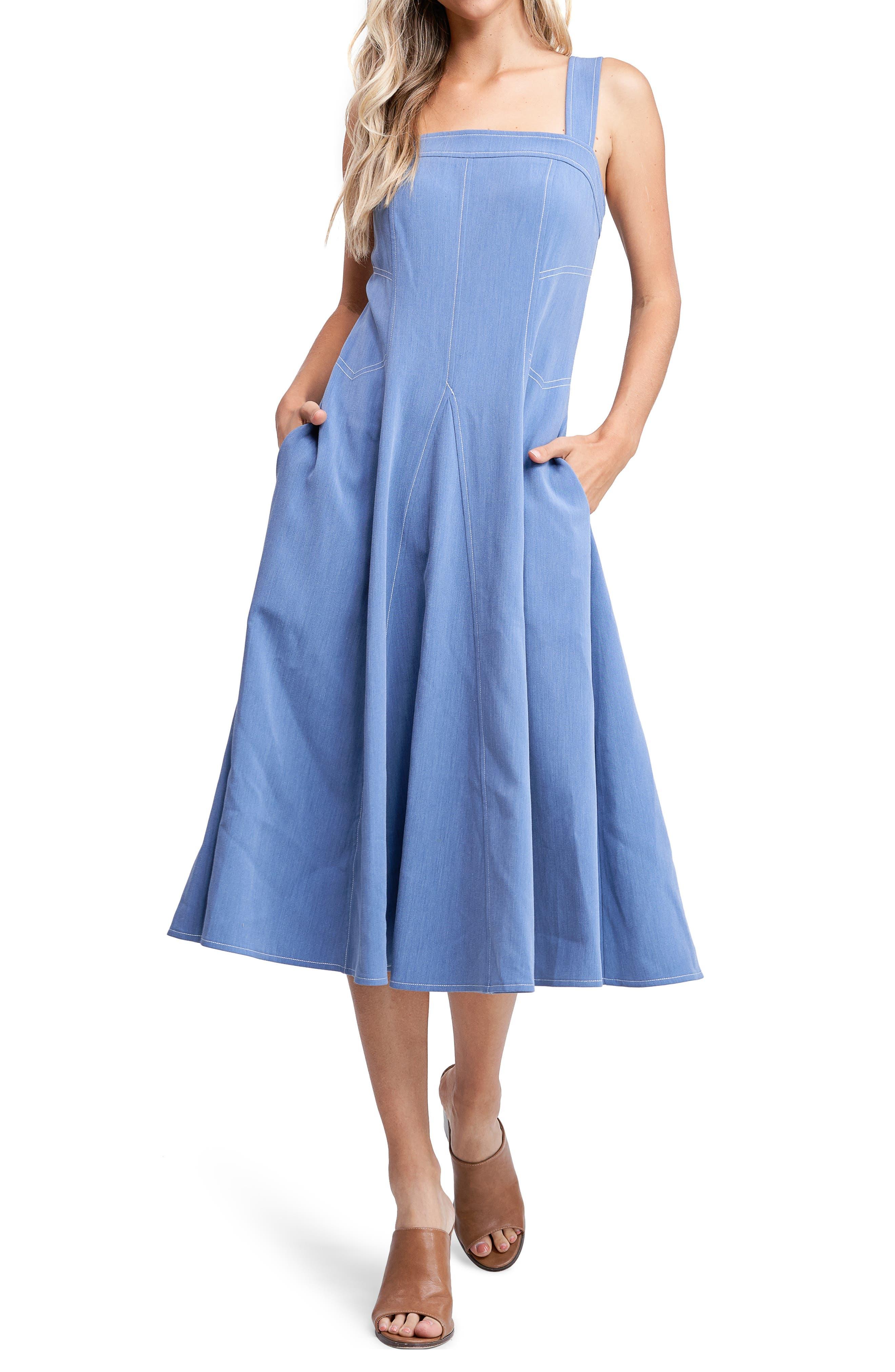 Contrast Stitch Midi Dress