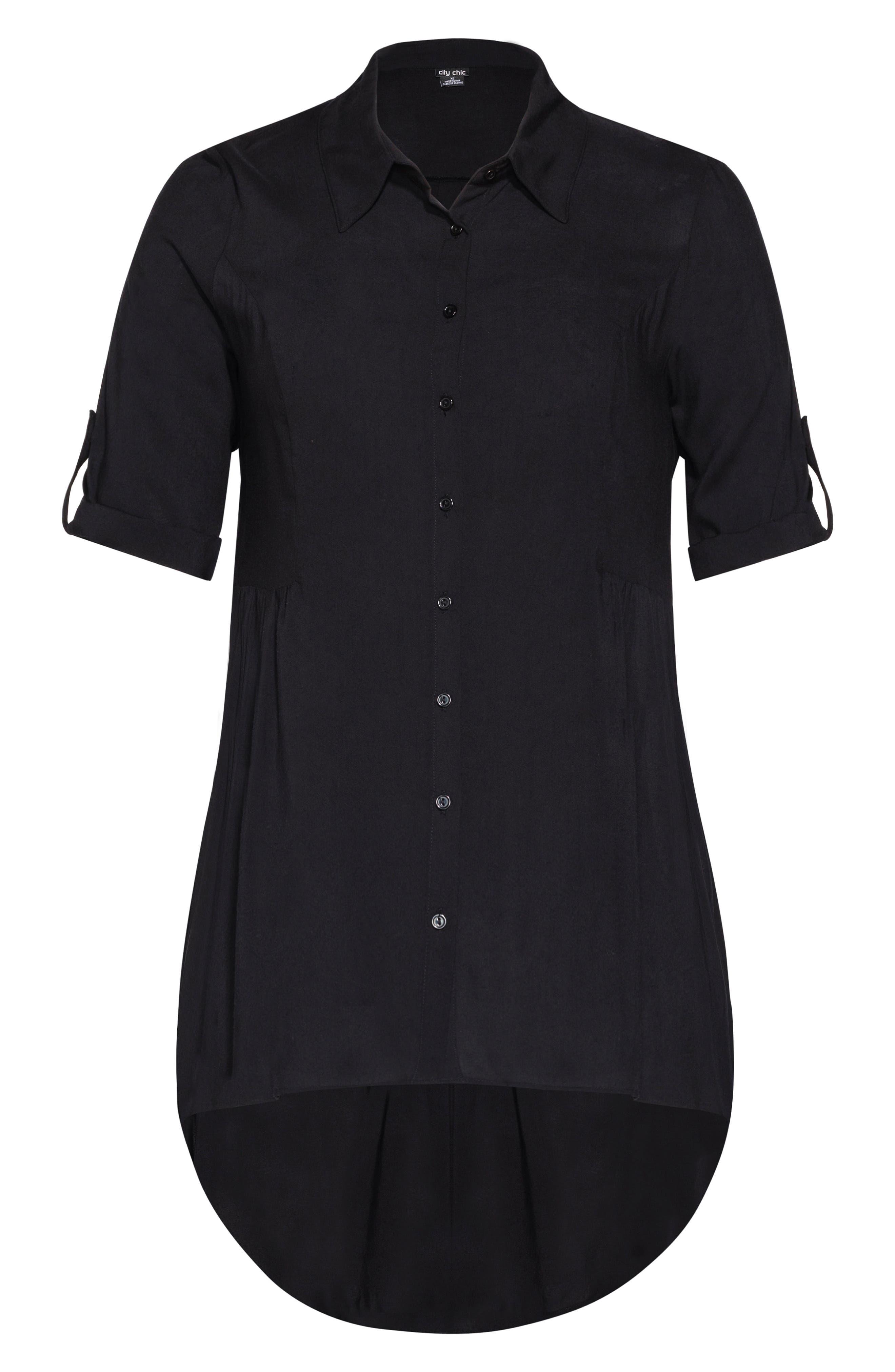 ,                             Fierce High/Low Shirt,                             Alternate thumbnail 3, color,                             BLACK