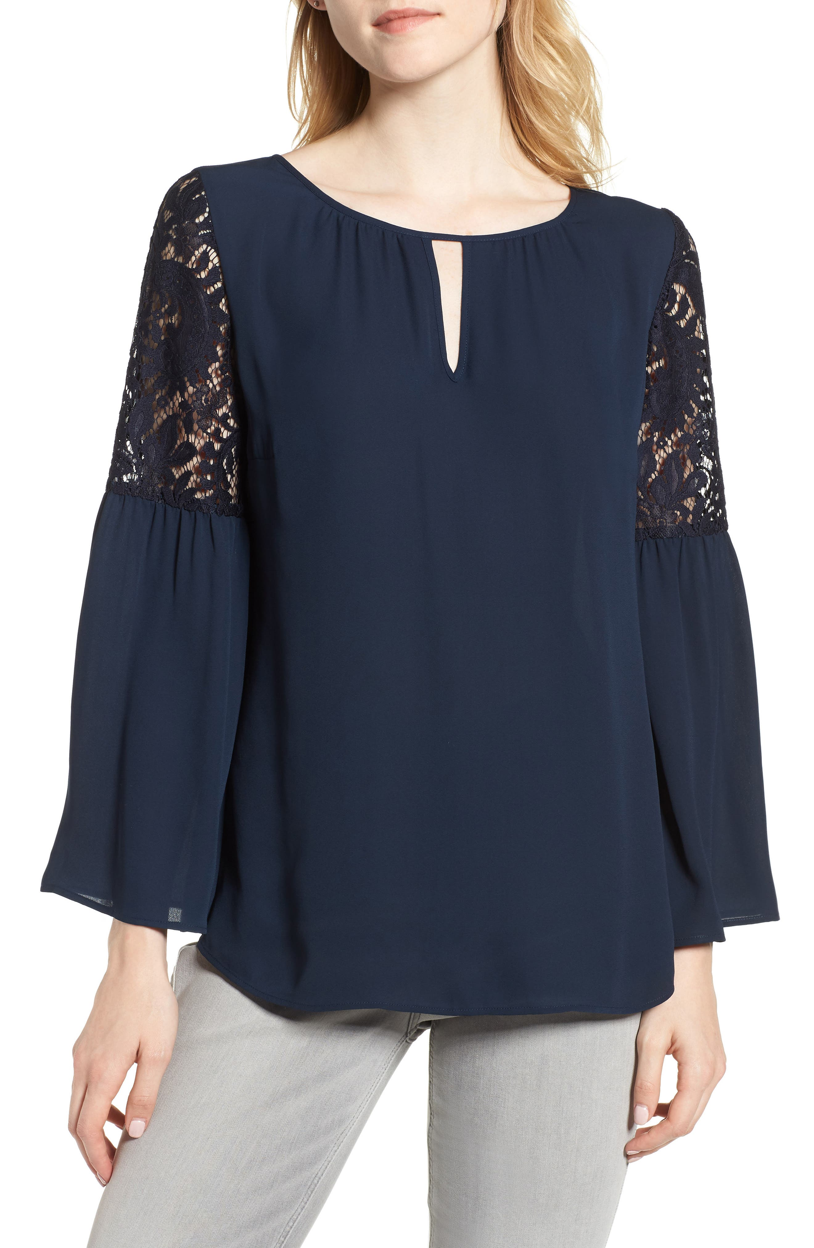 ,                             Lace Bell Sleeve Top,                             Main thumbnail 20, color,                             410