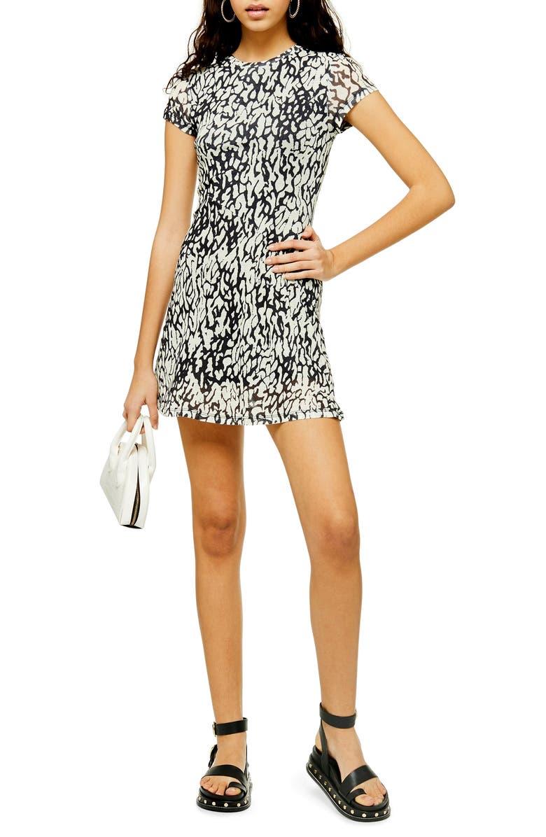 TOPSHOP Animal Mesh Minidress, Main, color, BLACK MULTI