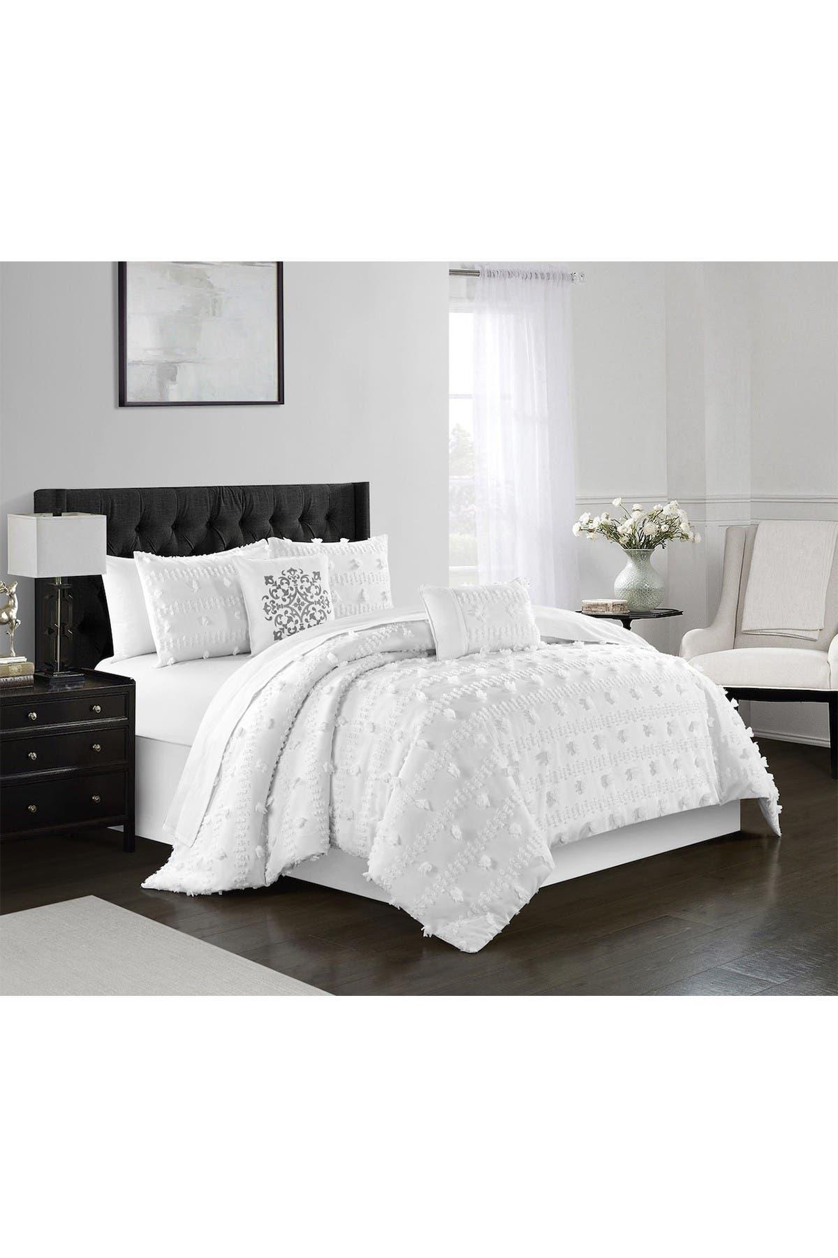 Chic Home Bedding Athisa Jacquard Floral Applique Design King Comforter Set White 5 Piece Set Nordstrom Rack