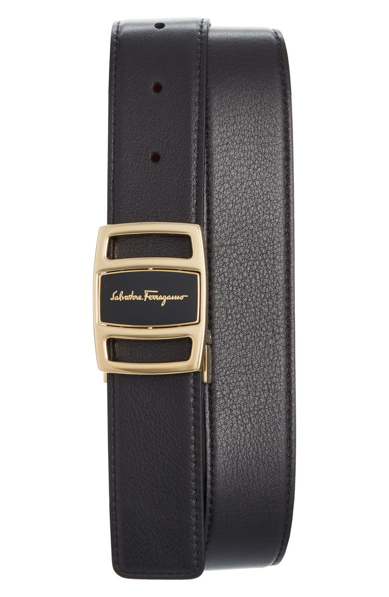 SALVATORE FERRAGAMO Reversible Leather Belt, Main, color, BLACK