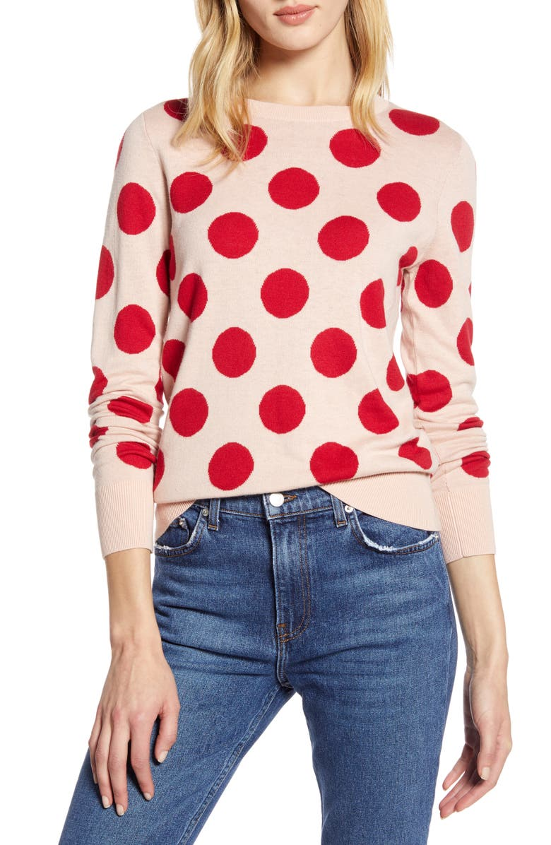 HALOGEN<SUP>®</SUP> x Atlantic-Pacific Polka Dot Sweater, Main, color, PINK- RED LE DOT