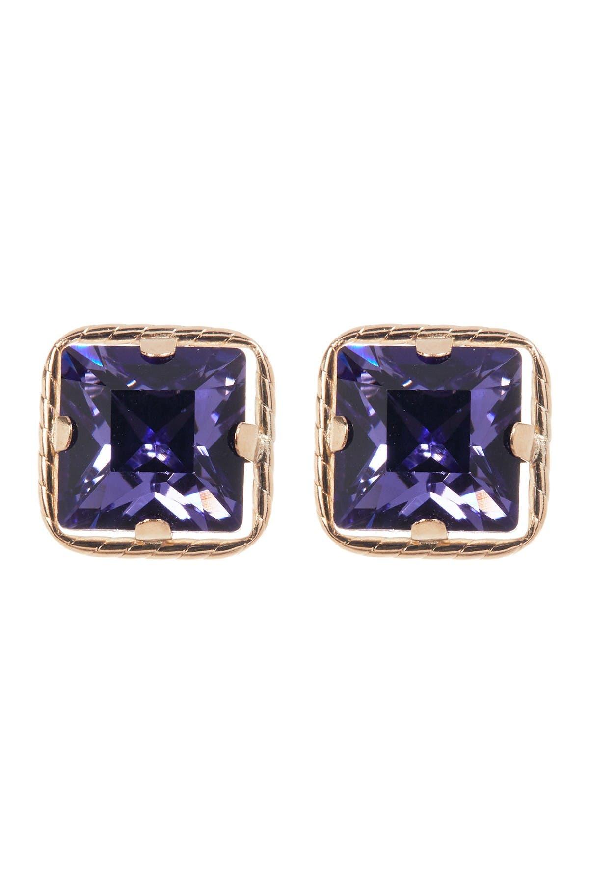 Image of Candela 10K Yellow Gold Sqaure Tanzanite Crystal Stud Earrings