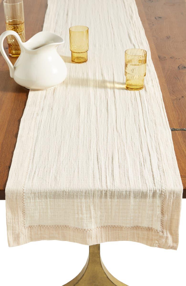 ANTHROPOLOGIE HOME Arnou Cotton Table Runner, Main, color, 135