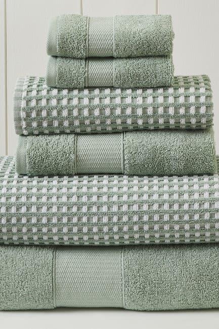 Image of Modern Threads Luxury Spa Cobblestone Quick Dry 6-Piece Towel Set - Green