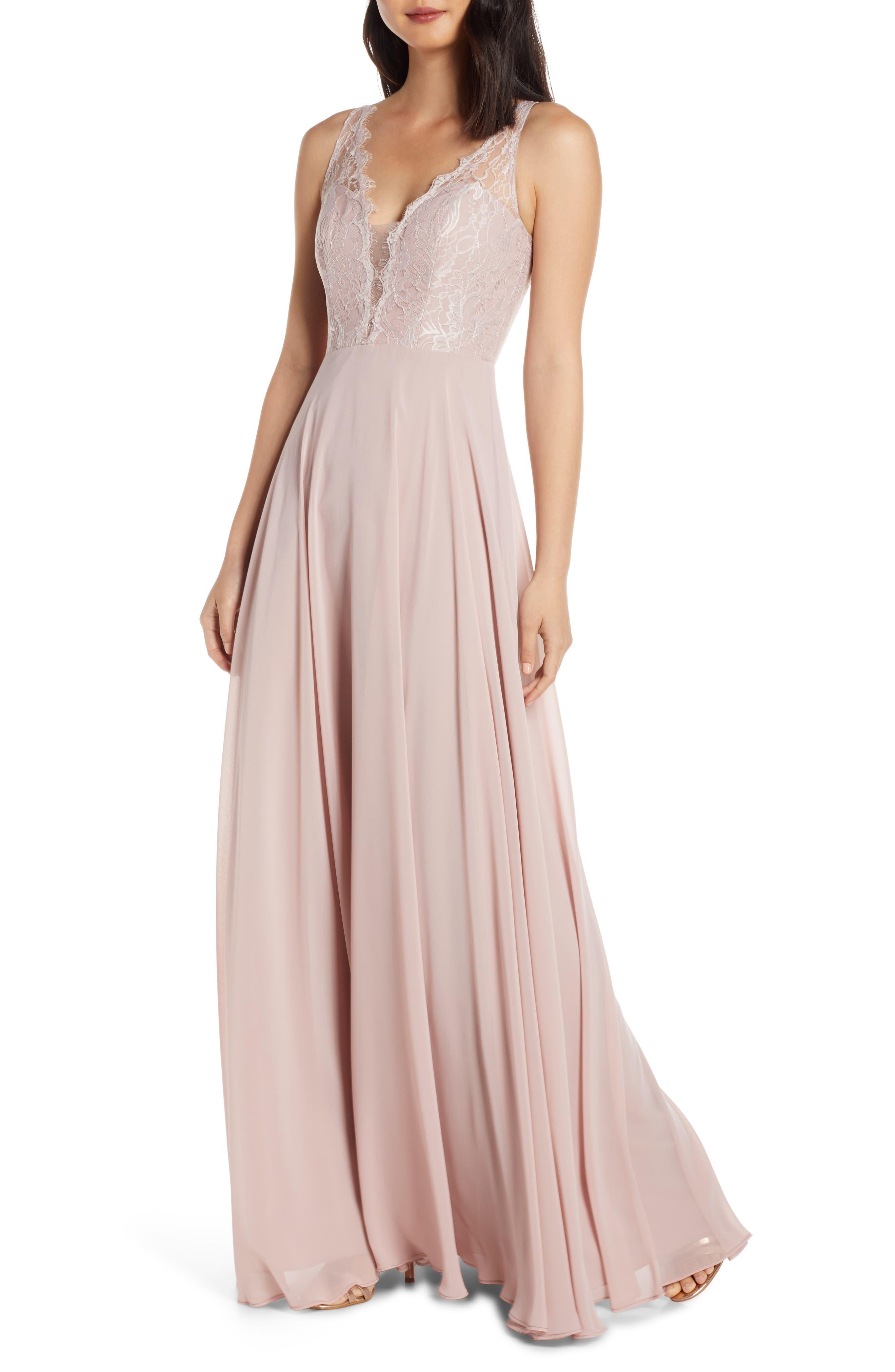 Hayley Paige Occasions Lace Bodice Chiffon Evening Dress, Pink