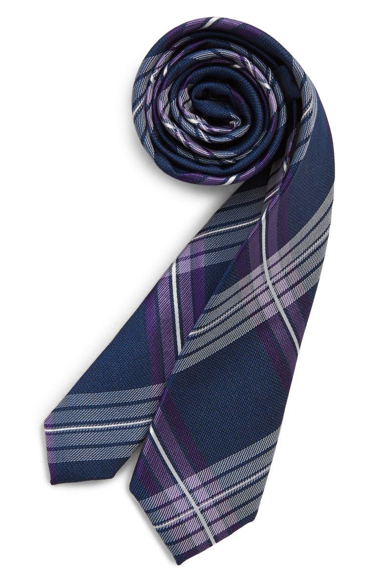 NORDSTROM Frank Plaid Silk Tie, Main, color, PURPLE