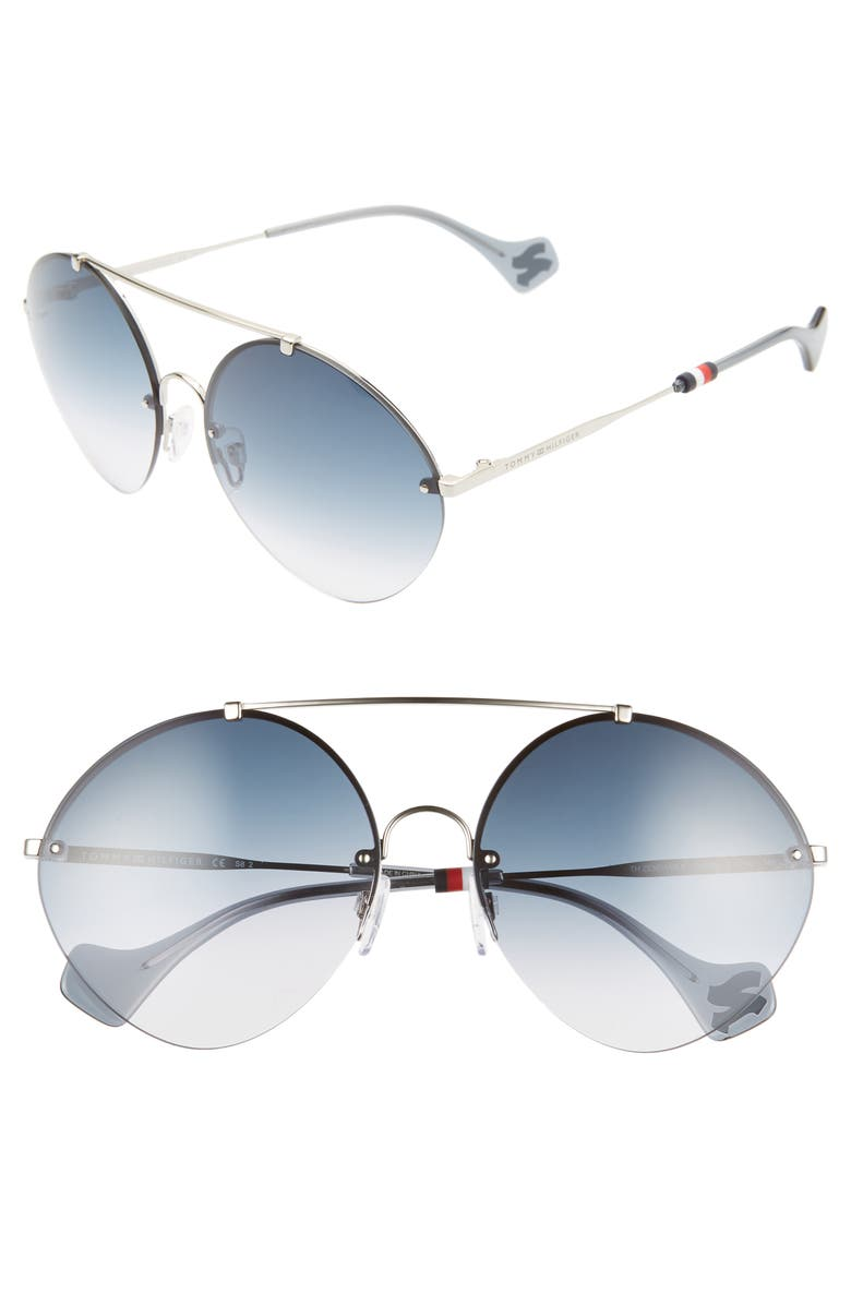 TOMMY HILFIGER x Zendaya 61mm Gradient Round Sunglasses, Main, color, PALLADIUM/ BLUE