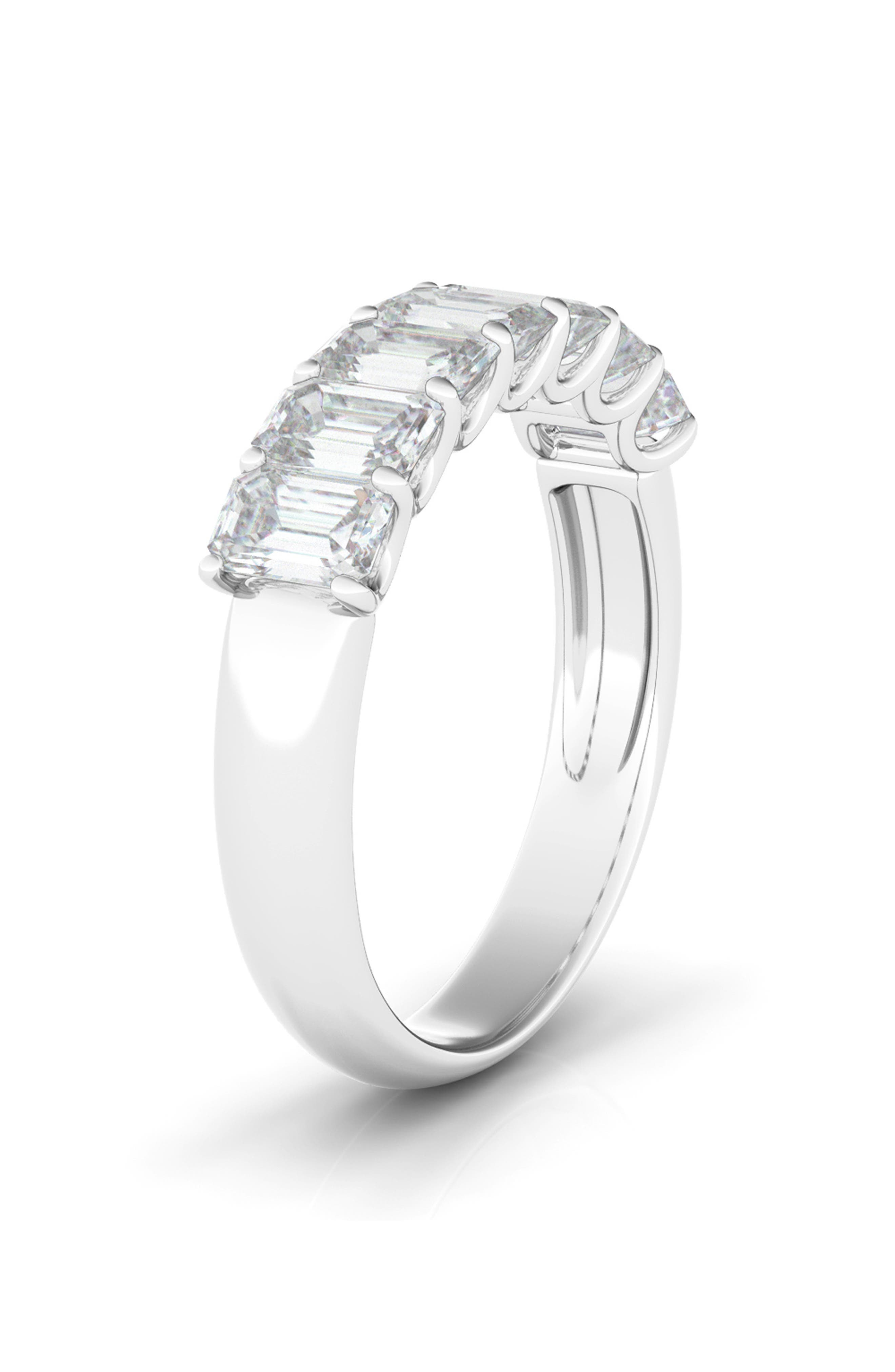 Half Emerald Cut Lab Created Diamond 14K Gold Eternity Ring
