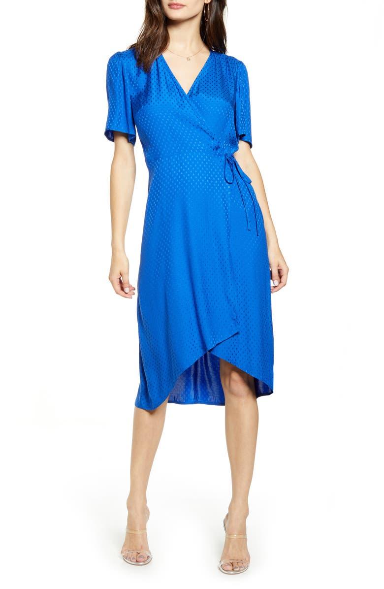 LEITH Dot Jacquard Satin Wrap Dress, Main, color, BLUE SURF