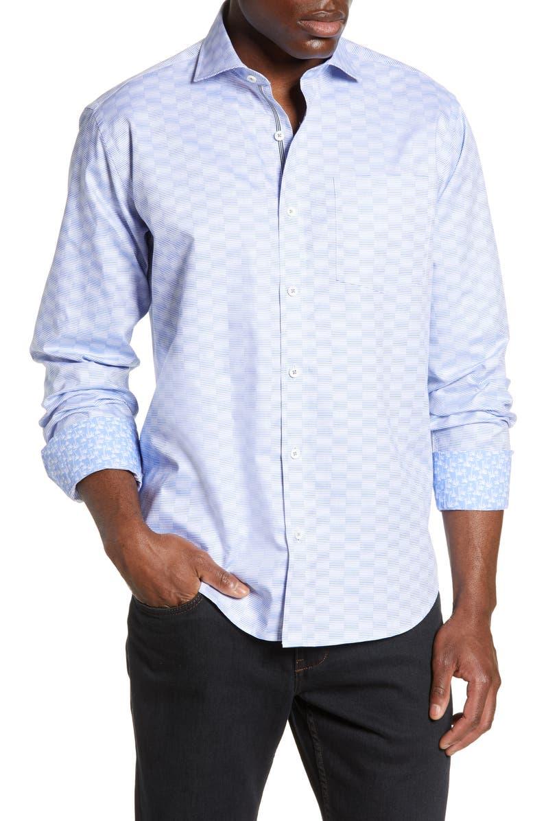 BUGATCHI Classic Fit Jacquard Shirt, Main, color, SKY