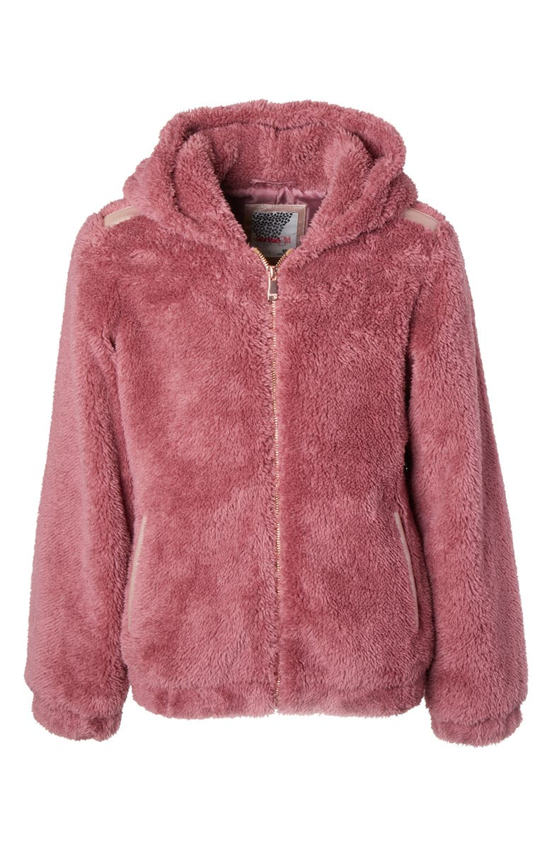 KENSIE GIRL Wubby Hooded Jacket, Main, color, VINTAGE ROSE