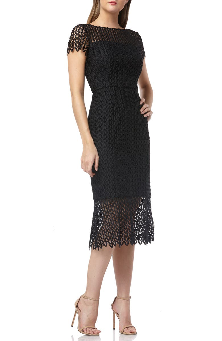 KAY UNGER Fishnet Lace Sheath Dress, Main, color, 002