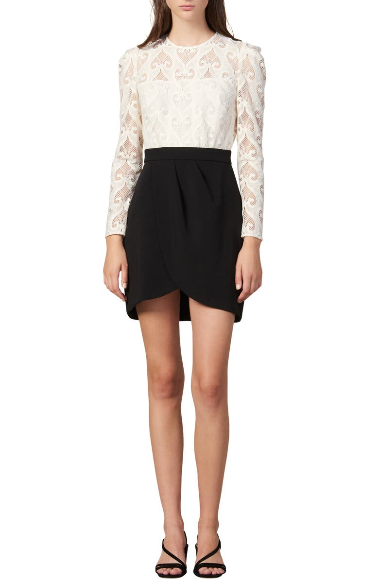 Camelia Lace Bodice Long Sleeve Minidress by Sandro