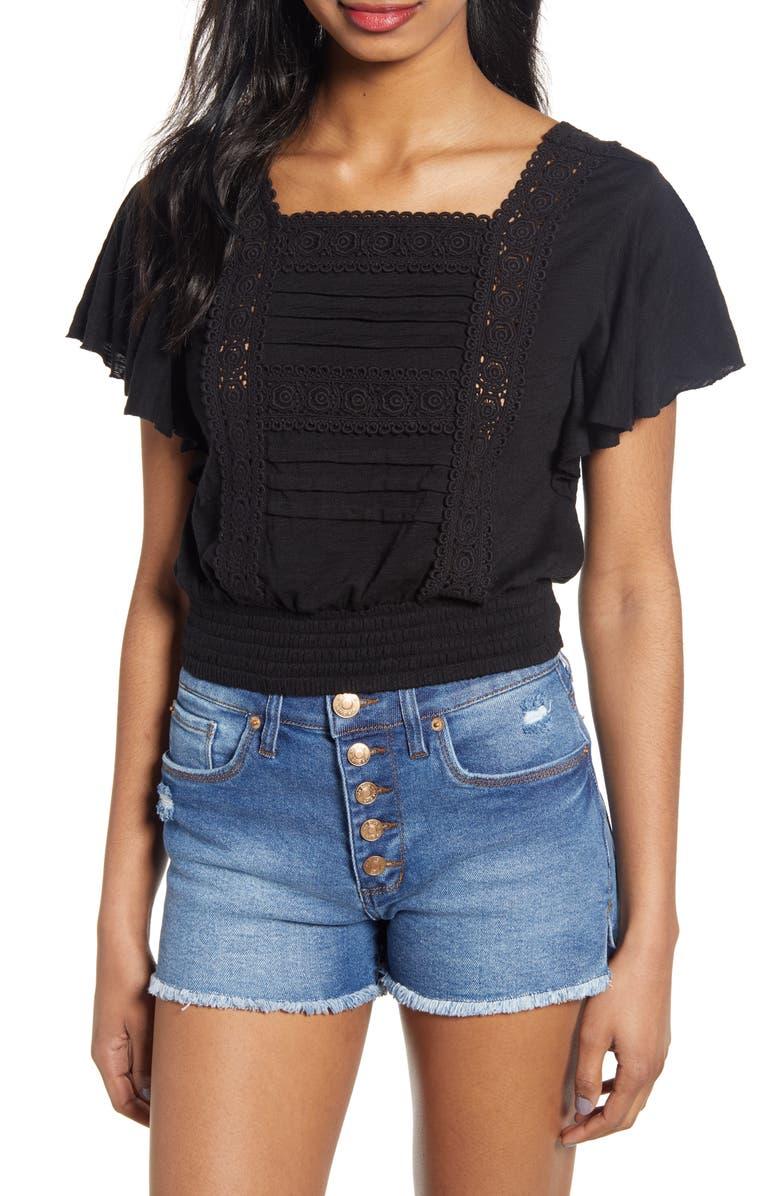 BP. Lace Trim Ruffle Sleeve Crop Top, Main, color, BLACK