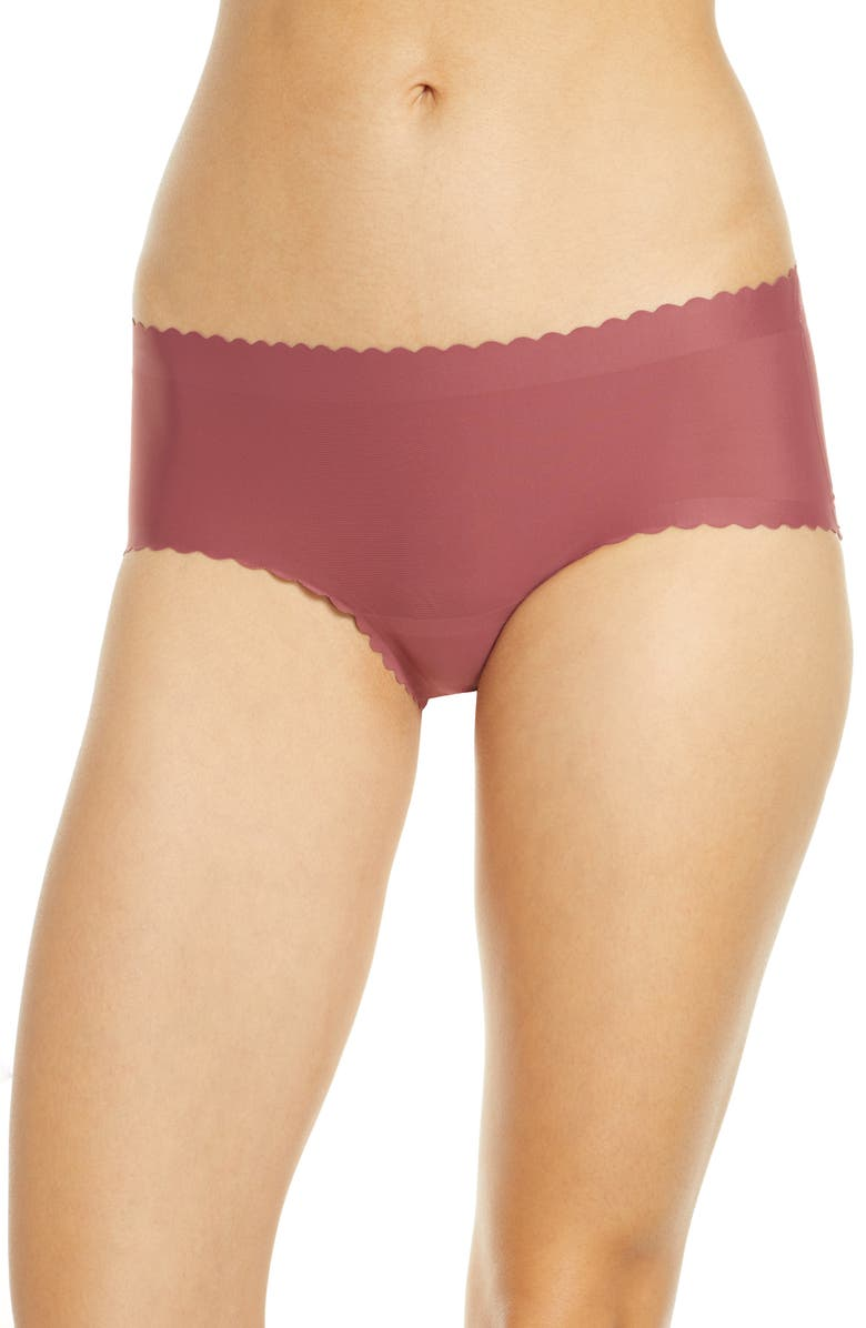 KNIX Essential Scallop Boyshorts, Main, color, WHISKEY ROSE