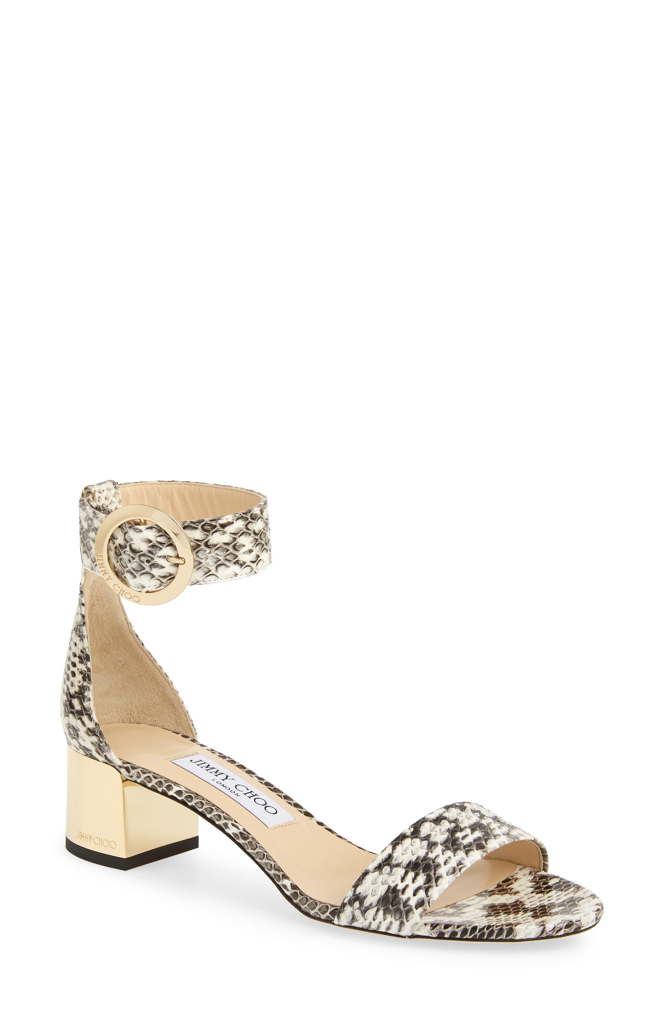 Jimmy Choo Jaimie Genuine Snakeskin Ankle Strap Sandal, Grey